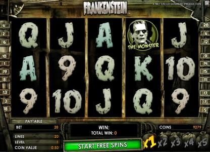Free Spins featuring the Video Slots Frankenstein with a maximum payout of $37,500