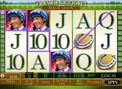 Frankie Dettori's Magic Seven :: Wild symbols lead to 252 coin jackpot payout