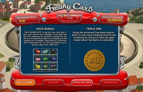 race bonus and triple win feature game rules