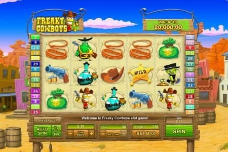 Freaky Cowboys :: main game board featuring five reels and thirty paylines