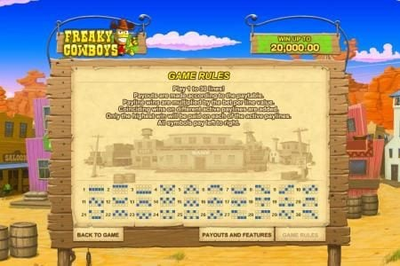 Freaky Cowboys :: game rules and payline diagrams