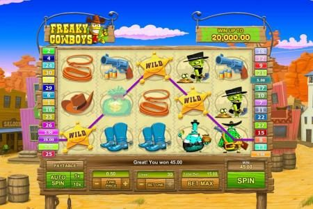 Freaky Cowboys :: multiple winning paylines triggers a $45 payout
