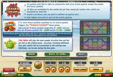 General Game Rules, Bonus Rules Free Spins Rules and Payline Diagrams