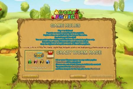 Freaky Fruits :: game rules and crazy worm race feature