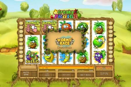 Freaky Fruits :: worms race bonus feature triggered