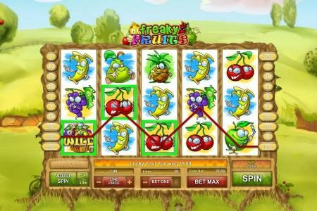 Freaky Fruits :: multiple winning paylines triggers a $75 jackpot