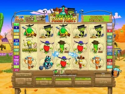 Chips Palace featuring the Video Slots Freaky Wild West with a maximum payout of $25,000