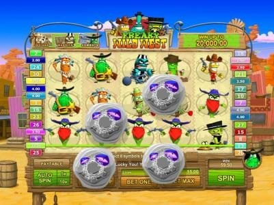 Freaky Wild West :: multiple winning paylines triggers a $59 jackpot