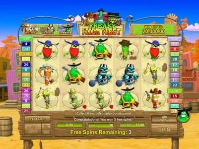 AdamEve featuring the Video Slots Freaky Wild West with a maximum payout of $25,000