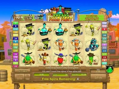 Freaky Wild West :: scatter symbols triggers an additional two free spins