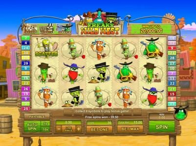 Freaky Wild West :: free spins feature triggers a $39.50 payout