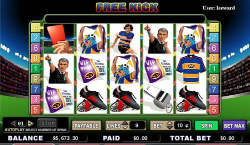 Casinia featuring the video-Slots Free Kick with a maximum payout of 5,000x
