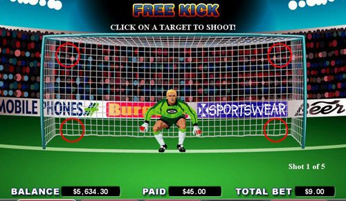 Lucky Me Slots featuring the video-Slots Free Kick with a maximum payout of 5,000x