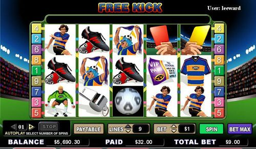 Omnia featuring the video-Slots Free Kick with a maximum payout of 5,000x