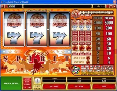 Play slots at Queen Vegas: Queen Vegas featuring the Video Slots Free Spirit  Wheel of Wealth with a maximum payout of $10,000