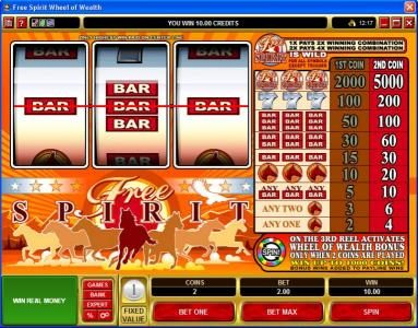 Clover Casino featuring the Video Slots Free Spirit  Wheel of Wealth with a maximum payout of $10,000