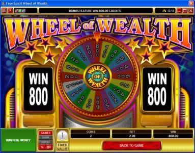 Grand Mondial featuring the Video Slots Free Spirit  Wheel of Wealth with a maximum payout of $10,000