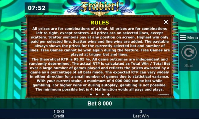 General Game Rules - The theoretical average return to player (RTP) is 95.05%.