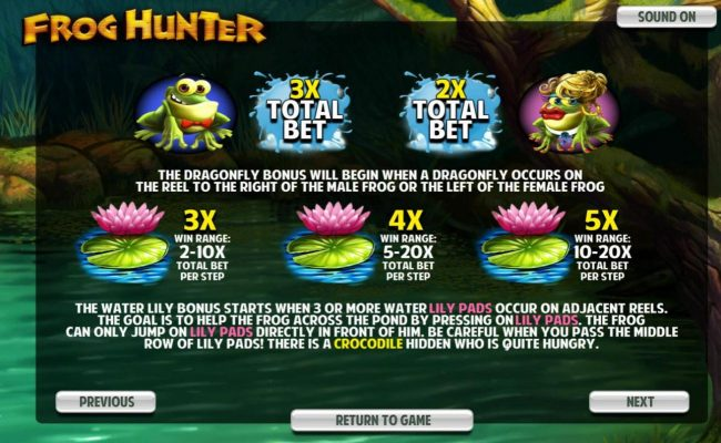 Lock featuring the Video Slots Frog Hunter with a maximum payout of $5,000