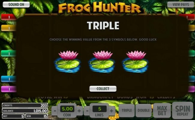 Leo Vegas featuring the Video Slots Frog Hunter with a maximum payout of $5,000