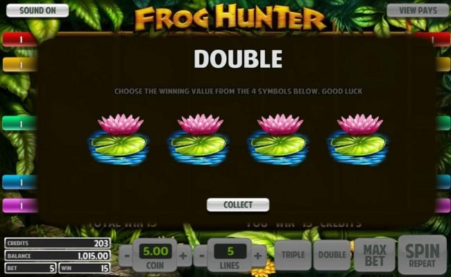 Top Bet featuring the Video Slots Frog Hunter with a maximum payout of $5,000