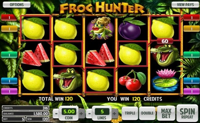 Real Bet featuring the Video Slots Frog Hunter with a maximum payout of $5,000