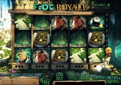 Frog Royale :: main game board featuring five reels and twenty paylines