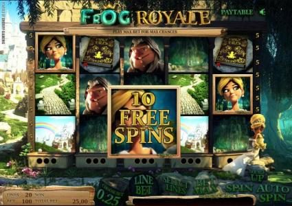 Frog Royale :: here is an example of 10 free spins being awarded