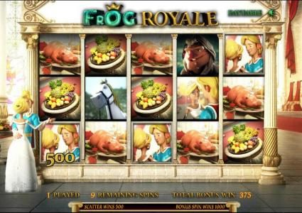 Frog Royale :: free spins game board, 500 coin jackpot triggered