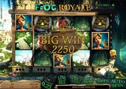 Frog Royale :: here is an example of a 2250 coin big win jackpot
