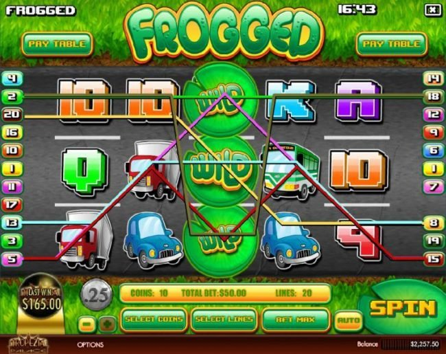 Mayan Fortune featuring the Video Slots Frogged with a maximum payout of $2,500