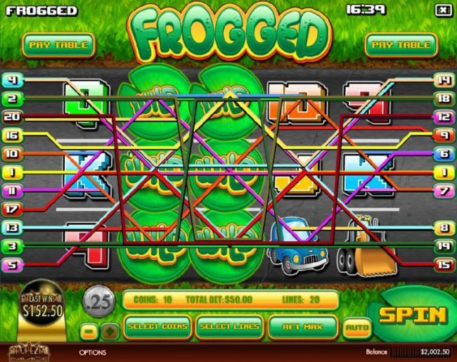 Winbig21 featuring the Video Slots Frogged with a maximum payout of $2,500