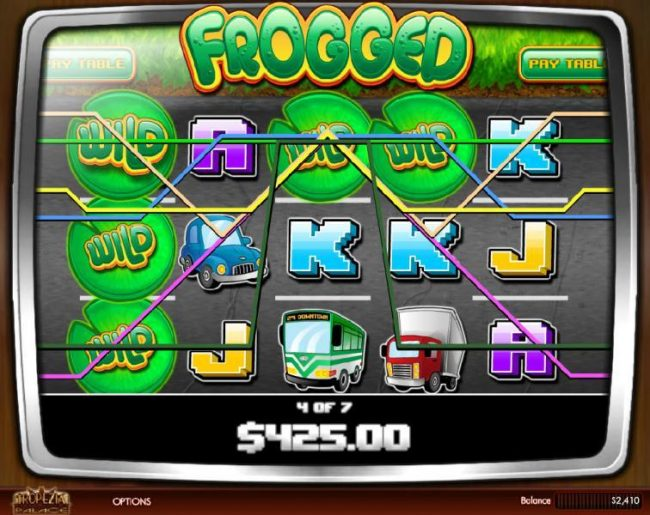 Vegas Fortune featuring the Video Slots Frogged with a maximum payout of $2,500