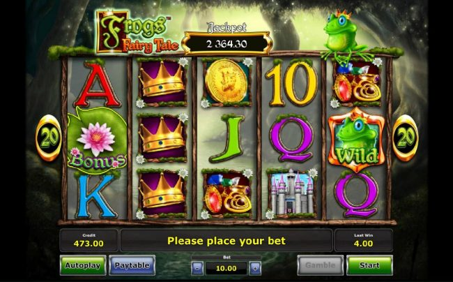 Frog's Fairy Tale :: Main game board featuring five reels and 20 paylines with a progressive jackpot max payout