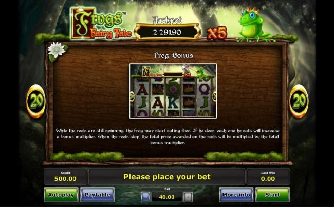 Frog Bonus - While the reels are still spinning, the frog may start eating flies. If he does, each one he eats will increase a bous multiplier. When the reels stop, the total prize awarded are multiplied by the bonus multiplier.