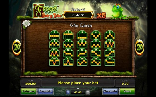 AC Casino featuring the Video Slots Frog's Fairy Tale with a maximum payout of Jackpot