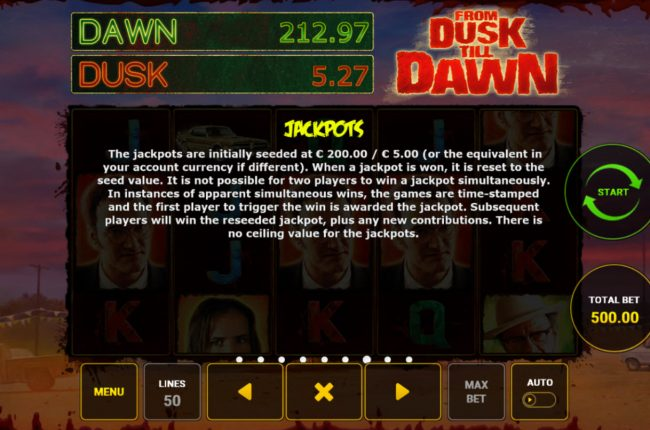 AC Casino featuring the Video Slots From Dusk Till Dawn with a maximum payout of $25,000