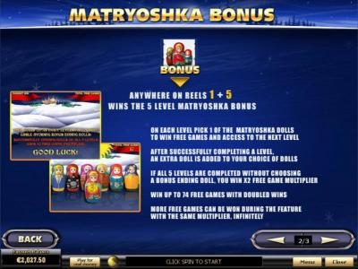 Matryoshka Bonus Feature Game Rules