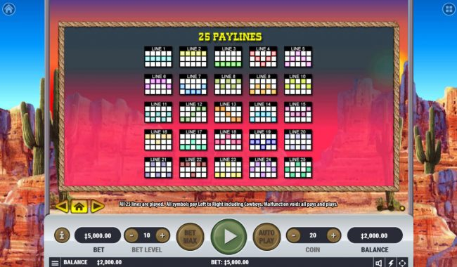 Frontier Fortune :: Paylines 1-25
