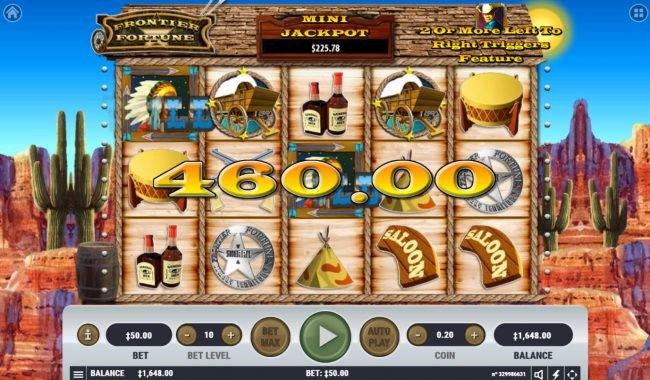 Rich Casino featuring the Video Slots Frontier Fortune with a maximum payout of $1,000,000