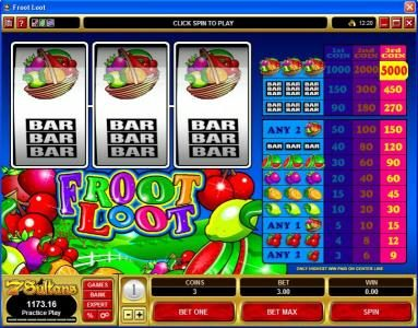 Play slots at Crystal: Crystal featuring the Video Slots Froot Loot with a maximum payout of $75,000