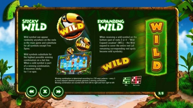 Froots :: Sticky Wild - Wild symbol can appear randomly anywhere on the reels in the main game and substitutes for all symbols except scatter. Expanding Wild - when receiveing a wild symbol on the bottom spot of reels 2 or 4, the wild expands to cover the entire re