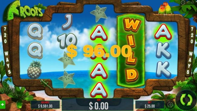 Froots :: Expanded wild triggers a 96.00 jackpot win.
