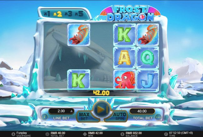 Frost Dragon :: Winning combinations are removed from the reels and new symbols drop in place