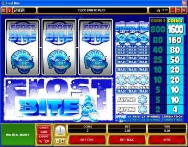 Play slots at Fun Casino: Fun Casino featuring the Video Slots Frost Bite with a maximum payout of $16,000