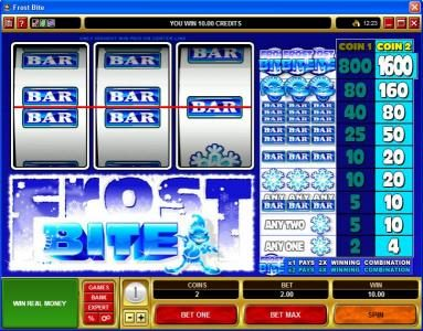 Music Hall featuring the Video Slots Frost Bite with a maximum payout of $16,000