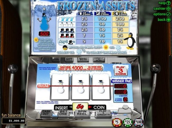 Play slots at Slotter: Slotter featuring the video-Slots Frozen Assets with a maximum payout of $15,000