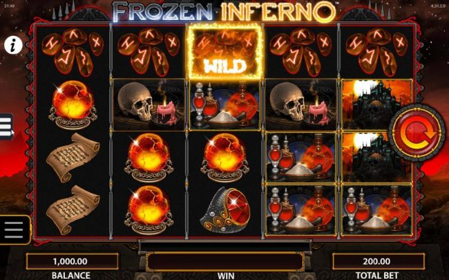 Frozen Inferno :: Main game board featuring five reels and 40 paylines with a $250,000 max payout