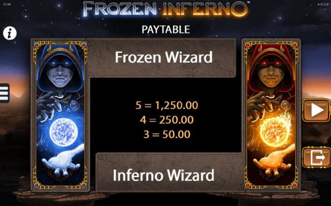 Play Million featuring the Video Slots Frozen Inferno with a maximum payout of $250,000