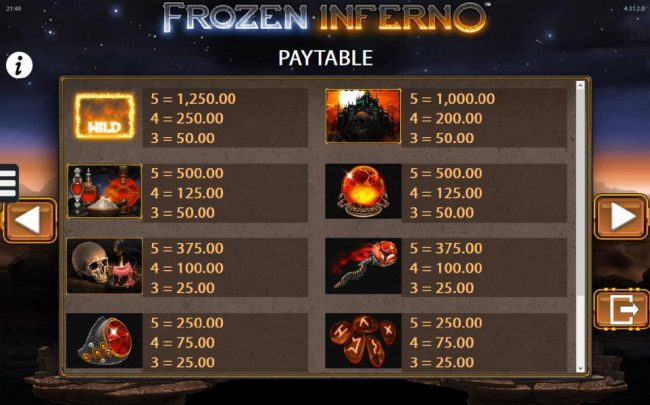 Frozen Inferno :: Inferno Slot game symbols paytable